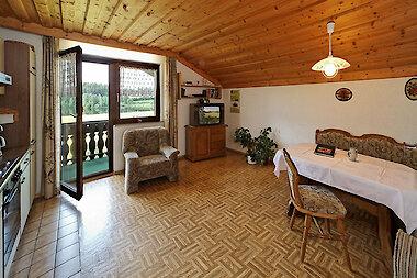 Wohnküche in der Ferienwohnung in Haidmühle